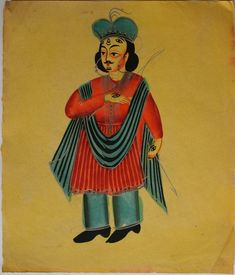 Kalighat collection: Indra. Watercolour on paper. Circa 3rd quarter 19th century. 25.5 x 21.6cm