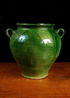 Rare Green French Antique Glazed Confit Jar