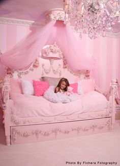 Princess Rose Day Bed by Villa Bella- a little froofy, but day bed concept with tulle swag