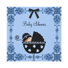 Black Blue Damask Baby Boy Shower Personalized Invitation by Baby Central