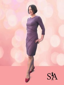 Finished purple body con dress with piping, from Sewing Avenue blog, http://www.sewingavenue.com/purple-bodycon-dress/