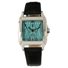 Deco Architectural Pattern, Turquoise and Black Wrist Watch   Zazzle.com