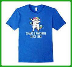 Mens Smart and Awesome Since 1982 Shirt / 35th Birthday T Shirt 3XL Royal Blue - Birthday shirts (*Amazon Partner-Link)