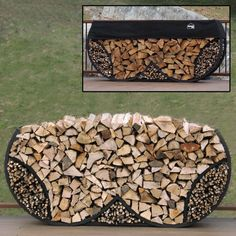 The heavy-gauge steel ShelterIt 8 ft. Double Round Firewood and Kindling Log Rack is finished in a textured black powder-coat that resists the elements. Outdoor Firewood Rack, Firewood Holder, Firewood Logs, Firewood Storage, Outdoor Storage, Fire Pit Backyard, Backyard Patio, Metal Bending, Patio Design