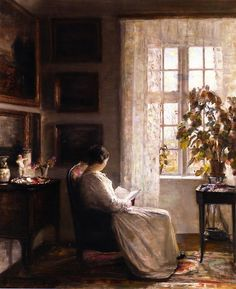 Reading in the Morning Light. Carl Vilhelm Holsøe (Danish, 1863-1935). Oil on canvas. Holsøe's pieces often deal with narratives involving the home as illustrated with this piece. He often concentrated on interiors with a masterful technique that reflected the influence of the Dutch masters such as Vermeer.