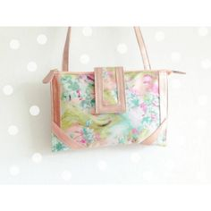 Floral women cross body purse with rose gold vynil by Mina