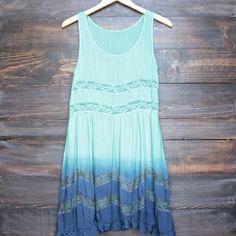 dip dye boho lace trim trapeze slip dress in mint and navy