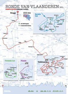Ontdek hier het volledige parcours van de Ronde van Vlaanderen