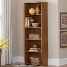Display your favorite home decor or keep your place organized with this Ameriwood™ Bank Alder 5-Shelf Bookcase from #BigLots.