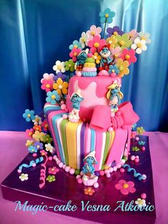 Colorful whimsical cake