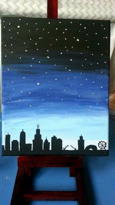 Diy acrylic on canvas #chicago #skyline