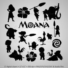 """Buy 2 Get 1 Free! Digital Clipart Silhouettes """"Moana"""" cartoon characters Disney, pua, rooster black images png/eps/svg/dxf and studio files - Emoji - Silhouettes Disney, Disney Silhouette Art, Cartoon Silhouette, Fairy Silhouette, Silhouette Images, Disney Cartoons, Disney Crafts, Disney Art, Moana Disney"""