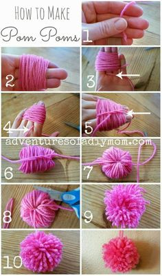 Step 8: Now it's time to cut your yarn. Slide your scissors into the loops and cut. Do this all the way around the pom pom. As you are doing this, be sure to keep your long pieces out of the way. You will want these long pieces to hang the pom pom with.   Step 9: This is what it should look like at this point.  Step 10: Now just give it a trim so it doesn't look so scraggly.