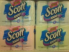 Coloured toilet paper...I remember when I first got married, buying tp to match my bathroom color palette...hahaha