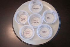 Make your own seder plate. Doing this with Asher, but I'm using coffee filters instead of applesauce containers.