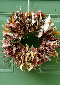 DIY: Colorful Fall Leaf Wreath --> http://www.hgtvgardens.com/crafts/make-a-fall-leaf-wreath?soc=pinterest