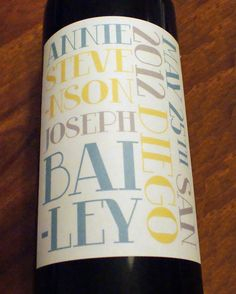 Custom Wine Labels, Personalized, Wine Label, Sticker, Party, Favor, Decoration, Modern, Typography, Table Number, Place Card, Fathers Day. $1.50, via Etsy.