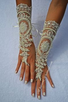 free ship  ivory Beach wedding barefoot gloves. ivory by newgloves, $55.00