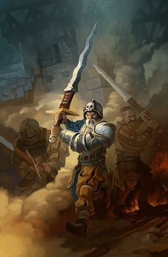 An illustration of Empire Greatswords infantry in Warhammer Fantasy universe. Fantasy Battle, Fantasy Weapons, Fantasy Warrior, Medieval Fantasy, Sci Fi Fantasy, Fantasy Races, Character Portraits, Character Art, Warhammer Empire