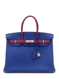 "Special Order ""Horseshoe"" Bi-Color Electric Blue and Tosca Togo Birkin 35cm by Hermès at Gilt"