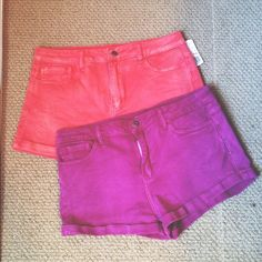 2 pairs colored high waisted shorts Bundle of 2 pairs of high waisted shorts (plum purple & coral). Same exact shorts just different colors. Never worn!! Shorts