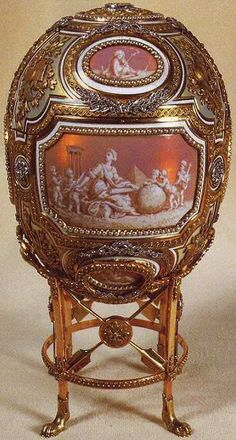 Faberge Catherine the Great Egg 1914. Surprise was mechanical stretcher with Catherine born by two cherubs.1927 sold to Gallery Hammer New York. 1931, bought by Eleanor Barzin as a birthday gift for her mother, Marjorie Merriweather Post. 1973 Marjorie Merriweather Post's collections presented to Museum Hillwood, Washington, DC.