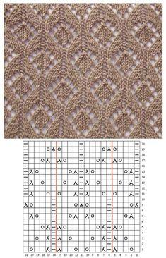 Узор В схеме указаны лицевые и изнаночны… Patrón El patrón muestra las filas delantera y trasera. Lace Knitting Stitches, Lace Knitting Patterns, Knitting Charts, Lace Patterns, Easy Knitting, Knitting Designs, Stitch Patterns, Knitting Videos, Knitting Socks