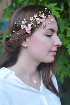 Bridal hair vine Pearl floral crown Gold pink bridal headpiece Wedding hair…