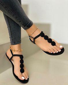 Cute Shoes Flats, Dr Shoes, Shoes Flats Sandals, Ankle Strap Sandals, Flat Sandals, Rubber Sandals, Slipper Sandals, Pretty Sandals, Simple Sandals