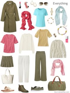 warm weather travel capsule wardrobe in ivory, olive, coral, blue and gold
