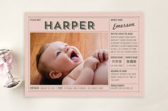 Vintage Name Grid Birth Announcement Postcards by Frooted Design at minted.com