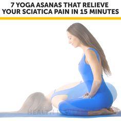 Yoga Asanas That Relieve Your Sciatica Pain In 15 Minutes Sciatic Nerve Exercises, Sciatic Nerve Relief, Lower Back Pain Exercises, Sciatic Pain, Back Pain Stretches, Best Stretching Exercises, Yoga For Sciatica, Sciatica Stretches, Yoga Videos