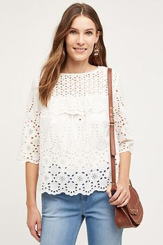 9e0d8220edae5 Super cute white eyelet top with elbow length sleeves. HD in Paris Letta Eyelet  Blouse