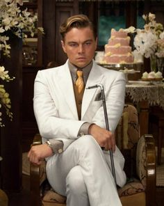 The Great Gatsby Suit in Off White on Sale, also Available Leonardo DiCaprio Suit for Mens at Discounted Price. Mens White Suit, White Suits, Leonardo Dicaprio Great Gatsby, Beautiful Men, Beautiful People, Mode Style, Men's Style, Style Men, The Great Gatsby