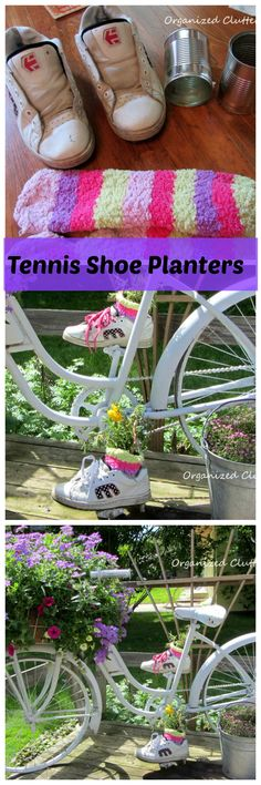 Old Tennis Shoe Planters For Your Garden Bike.