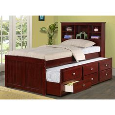 FREE SHIPPING! Shop Wayfair for Donco Kids Captain Bed with Trundle and Bookcase - Great Deals on all Furniture products with the best selection to choose from!
