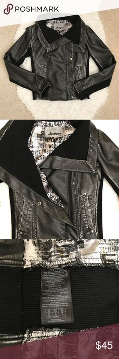 Guess Adriana Jacket Guess Adriana Jacket. Rocker chick style. Shiny leatherette long sleeve. Ribbed knit sides and inside wide collar. Front has off center zipper and Snap button closures. Size XS. No hole no stain. Guess Jackets & Coats