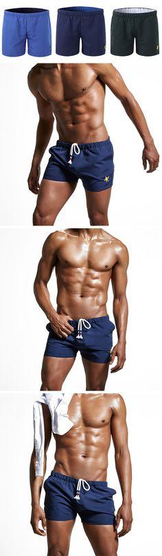 US$12.72 (47% OFF) Mens Summer Drawstring Embroidery Beach Shorts / Casual Jogging Shorts