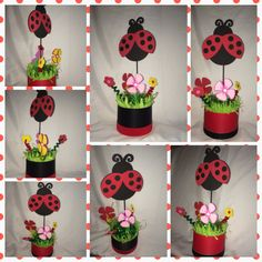 Ladybug party centerpiece  by partycenterpiece on Etsy