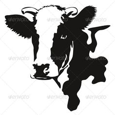 Vector Illustration of a Cow Head - Animals Characters