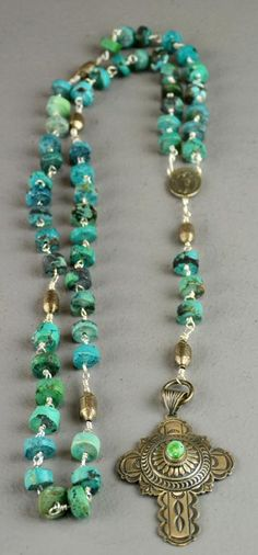 Large Native American Turquoise & Silver Rosary