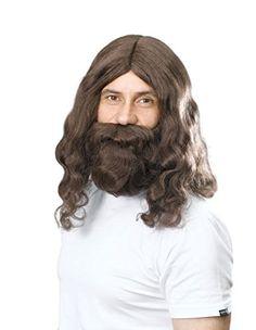 Brown Wig And Beard - Jesus Hippie Hippy Christmas Fancy Dress Accessory Bn Fancy Dress Photos, Elf Fancy Dress, Hippy Fancy Dress, Christmas Fancy Dress, Angel Dress Up, Black Santa Hat, Elf Hat With Ears, Santa Dress, 70s Hippie