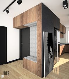 Motyw cegły we wnętrzu - Średni hol / przedpokój, styl nowoczesny - zdjęcie od OES architekci