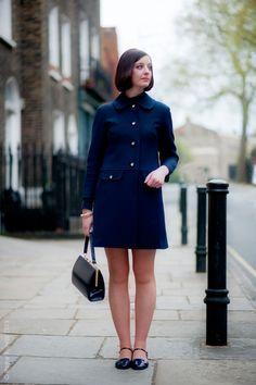 60s chic, blue, via Street Style Aesthetic.