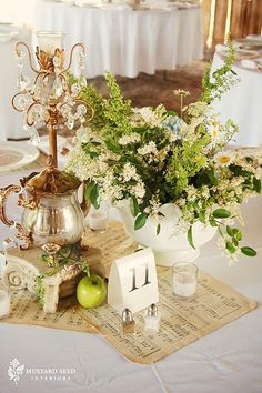 The Farmhouse Chic Wedding - table centerpieces Music Centerpieces, Floral Centerpieces, Wedding Centerpieces, Wedding Decorations, Teapot Centerpiece, Wedding Tables, Centrepieces, Centerpiece Ideas, Table Centerpieces