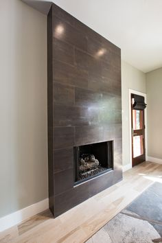 Creative Contemporary Home Wood Ideas 4 Spiritual Cool Tips: Contemporary Kitchen Diy contemporary farmhouse mantle. Tiled Fireplace Wall, Fireplace Doors, Home Fireplace, Fireplace Remodel, Modern Fireplace, Living Room With Fireplace, Fireplace Surrounds, Fireplace Design, Fireplace Stone