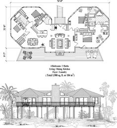 Octagon House Floor Plan (800 sq. ft.) 2 Bedrooms, 2 Baths. Maybe ...