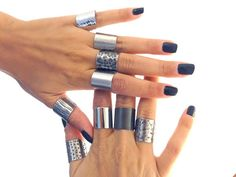 silver armor ring tube ring everyday ring Wide band by AshkalShop, $18.00