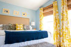more aqua, yellow and navy. I like the bamboo shades behind a yellow curtain
