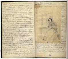 "Self-portrait of Grand Duchess Olga Nikolaevna Romanova of Russia (later Queen Olga of Wuerttemberg). ""AL"""